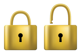 Locked and unlocked Padlock gold isolated on white background