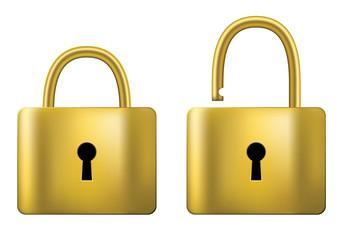 Locked and unlocked Padlock gold isolated on white background