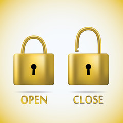 Locked and unlocked Padlock gold text open close