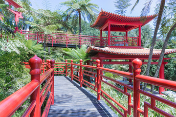 Tropical Garden with red Japanese pavilions in Funchal, Madeira