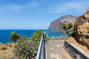 Beautiful coast of Madeira with hiking trail