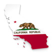Leinwandbild Motiv 3D geographic outline map of California with the state flag