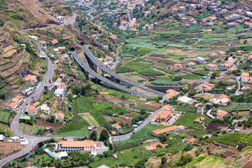 Aerial view of villages and  highway of Madeira Island