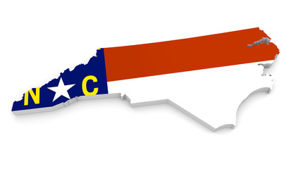 3D geographic outline map of North Carolina with the state flag