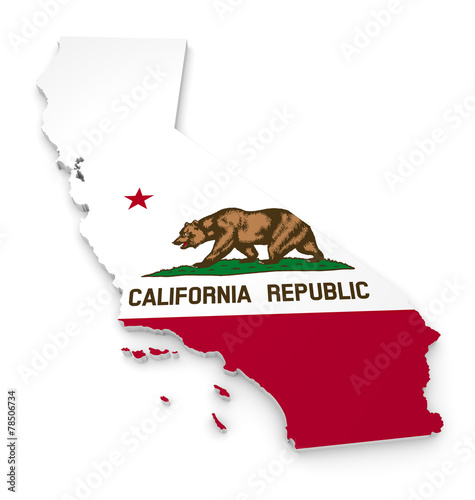3D geographic outline map of California with the state flag - 78506734