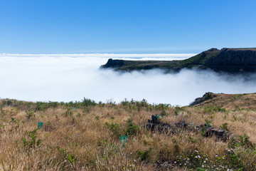 View form Madeira mountains with cloud cover over the Ocean