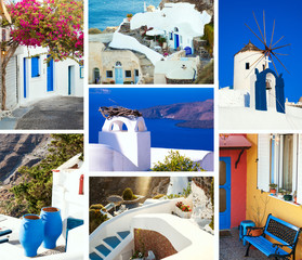 Set of summer travel photos in Santorini island, Greece. Collage