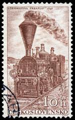 Stamp printed in Czechoslovakia shows locomotive