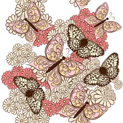 Butterfly seamless vector pattern