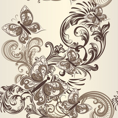 Butterfly seamless vector pattern with ornament