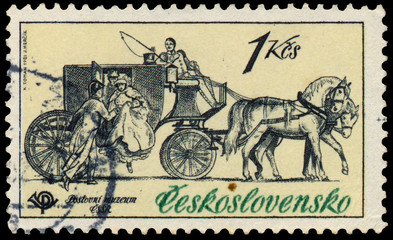 Stamp printed in Czechoslovakia, shows Mail coach