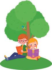 Children outdoors reading a book