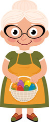 Grandmother with a basket of Easter eggs