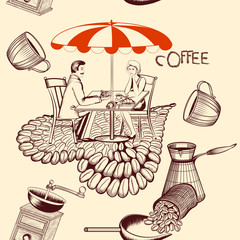 Coffee seamless pattern with cafe table, coffee and cute couple