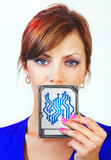 woman holds digital device