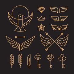 Vector set of outline hipster design elements