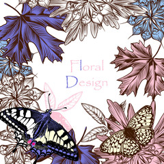Floral background with butterflies and flowers