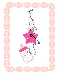 Hanging baby bottle, safety pin, star baby girl arrival card