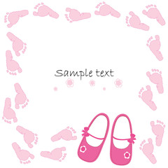 Pink baby shoes baby arrival card vector