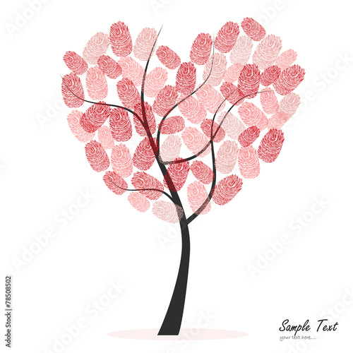 Naklejka Heart tree with finger prints vector