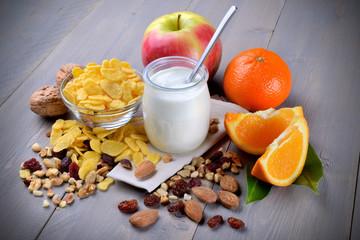 Breakfast with yogurt and fruit