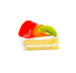 Kiwi piece of cake on white background