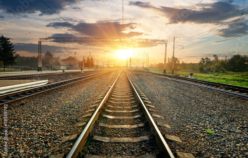 canvas print picture Railroad and station