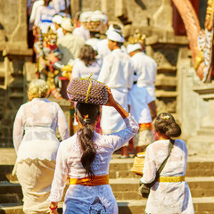 Balinese people going to the temple
