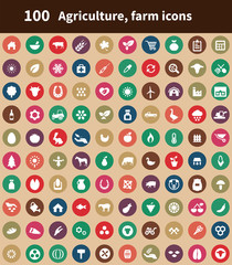 100 agriculture, farm icons