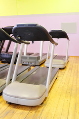 Set of treadmills staying in the gym