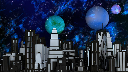 Night Futuristic City with three Planets and Stars