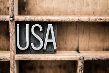 USA Vintage Letterpress Type in Drawer