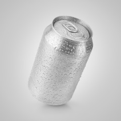 330 ml aluminum can with water drops on gray