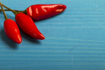 Red Hot Chili Peppers on Blue Wooden Background