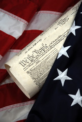 U.S. Constitution and flag