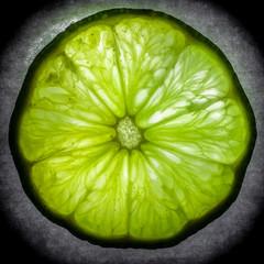 Macro design slice of lime against dark background