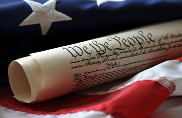 We the people - U.S. Constitution and flag