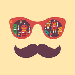 Colorful hipster sunglasses with intelligent robots.