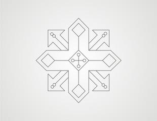 geometric arrow shape line design vector
