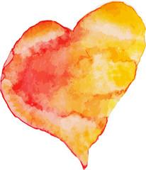 Red, orange e yellow watercolor heart, vector illustration