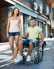 Disabled man in wheelchair outdoor