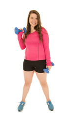 Healthy athletic woman standing with eight pound barbell weights