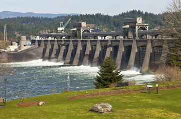 Bonneville Dam water release through the gates.