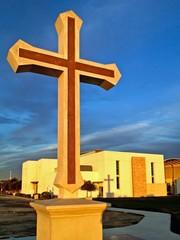 Christian Cross Sunset Blue Sky with Shadow on Church