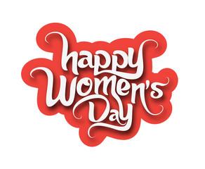 Happy Women's Day Text Design Element.