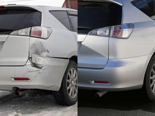 自動車の修理前と後