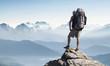 Leinwanddruck Bild - Tourist in mountain peak. Active life concept