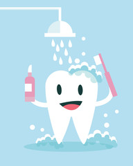 Tooth Brushing and take shower Itself. flat character design.