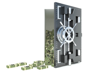 3d illustration of steel safe with money, over white background