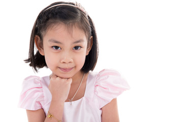 Portrait of Asian little girl on white background